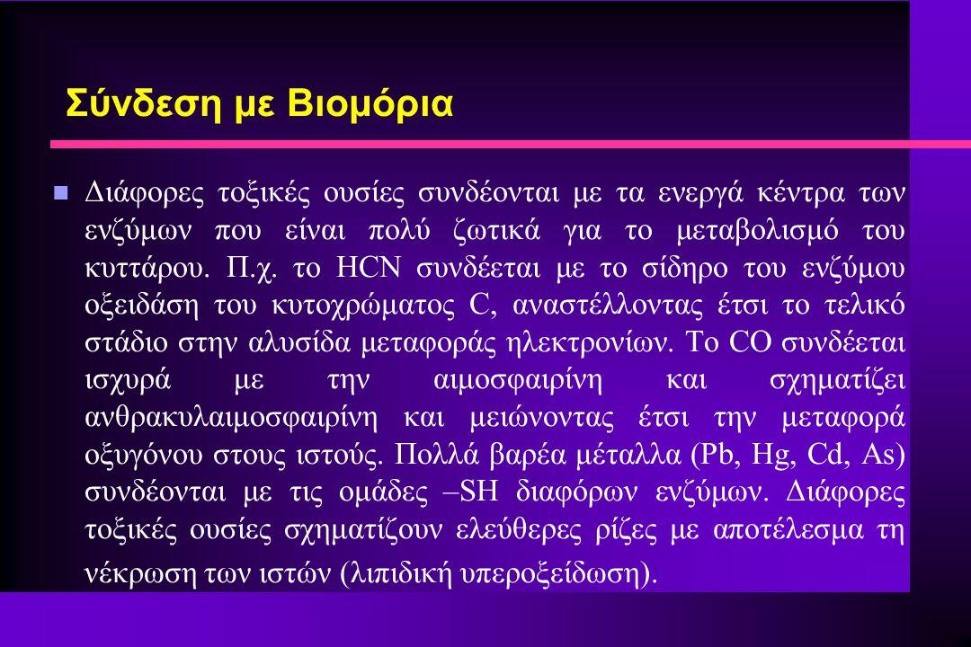 Σύνδεση με Βιομόρια n Διάφορες τοξικές ουσίες συνδέονται με τα ενεργά κέντρα των ενζύμων που είναι πολύ ζωτικά για το μεταβολισμό του κυττάρου. Π.χ. τ