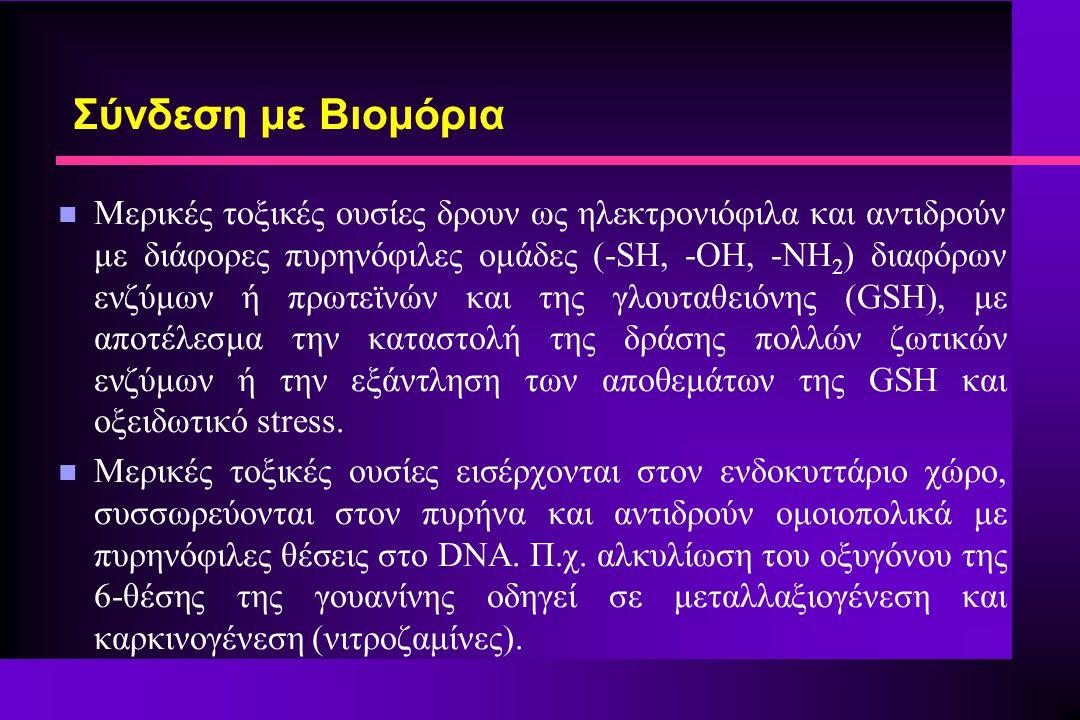 Σύνδεση με Βιομόρια n Μερικές τοξικές ουσίες δρουν ως ηλεκτρονιόφιλα και αντιδρούν με διάφορες πυρηνόφιλες ομάδες (-SH, -OH, -NH 2 ) διαφόρων ενζύμων