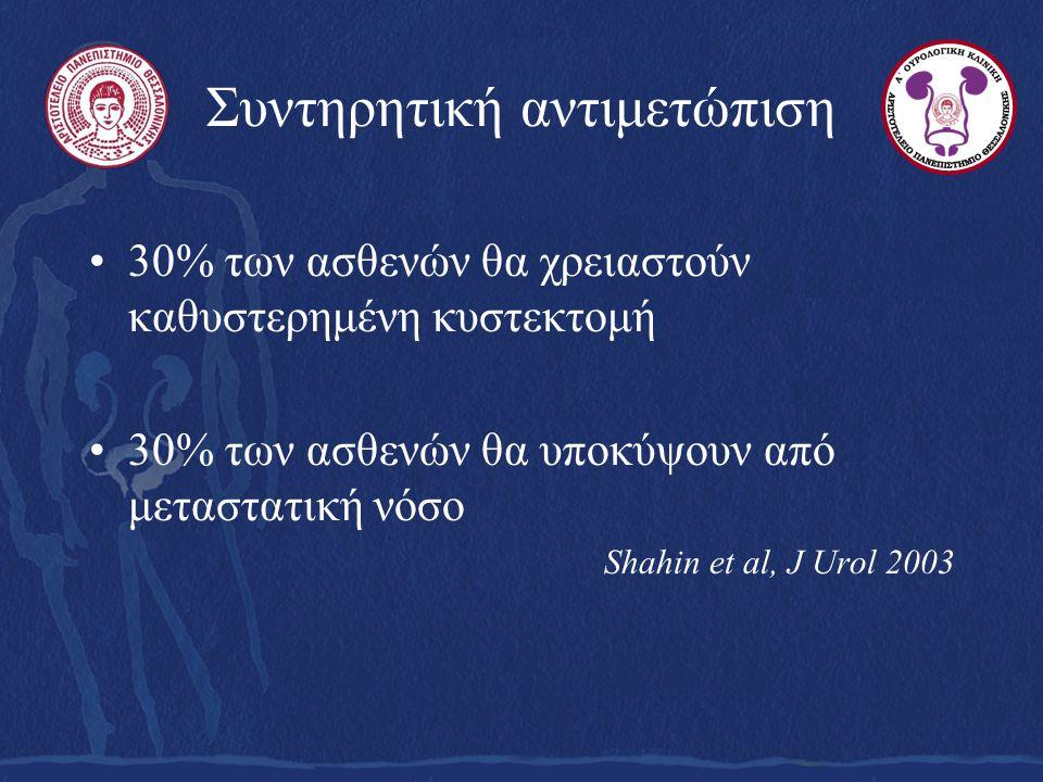 Συντηρητική αντιμετώπιση 30% των ασθενών θα χρειαστούν καθυστερημένη κυστεκτομή 30% των ασθενών θα υποκύψουν από μεταστατική νόσο Shahin et al, J Urol 2003