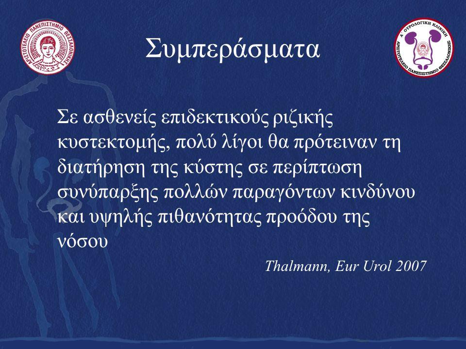 Συμπεράσματα Σε ασθενείς επιδεκτικούς ριζικής κυστεκτομής, πολύ λίγοι θα πρότειναν τη διατήρηση της κύστης σε περίπτωση συνύπαρξης πολλών παραγόντων κινδύνου και υψηλής πιθανότητας προόδου της νόσου Thalmann, Eur Urol 2007