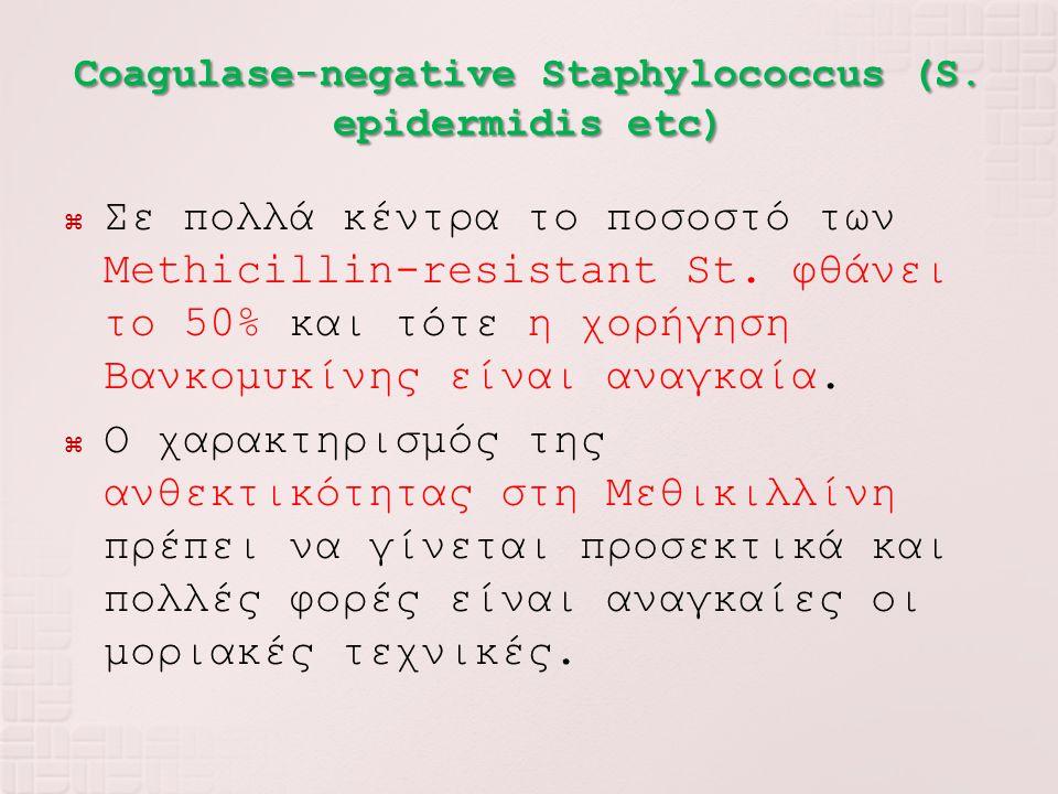  Σε πολλά κέντρα το ποσοστό των Methicillin-resistant St. φθάνει το 50% και τότε η χορήγηση Βανκομυκίνης είναι αναγκαία.  Ο χαρακτηρισμός της ανθεκτ