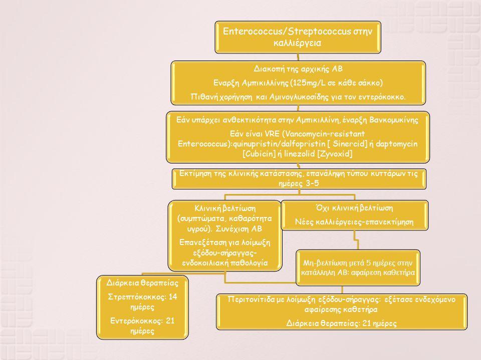 Enterococcus/Streptococcus στην καλλιέργεια Διακοπή της αρχικής ΑΒ Εναρξη Αμπικιλλίνης (125mg/L σε κάθε σάκκο) Πιθανή χορήγηση και Αμινογλυκοσίδης για