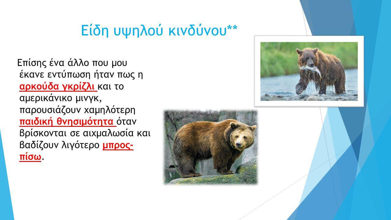 Είδη υψηλού κινδύνου** Επίσης ένα άλλο που μου έκανε εντύπωση ήταν πως η αρκούδα γκρίζλι και το αμερικάνικο μινγκ, παρουσιάζουν χαμηλότερη παιδική θνησιμότητα όταν βρίσκονται σε αιχμαλωσία και βαδίζουν λιγότερο μπρος- πίσω.