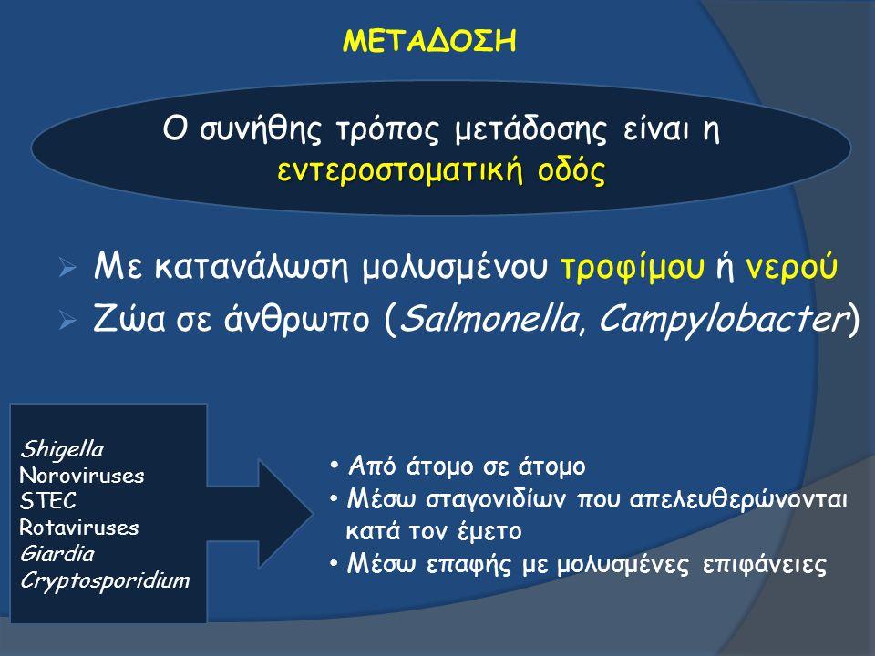 ΜΕΤΑΔΟΣΗ  Με κατανάλωση μολυσμένου τροφίμου ή νερού  Ζώα σε άνθρωπο (Salmonella, Campylobacter) εντεροστοματική οδός Ο συνήθης τρόπος μετάδοσης είνα