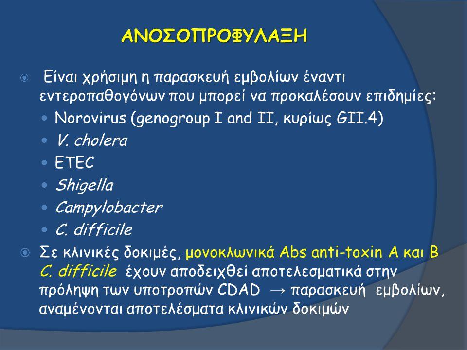 ΑΝΟΣΟΠΡΟΦΥΛΑΞΗ  Είναι χρήσιμη η παρασκευή εμβολίων έναντι εντεροπαθογόνων που μπορεί να προκαλέσουν επιδημίες: Norovirus (genogroup I and II, κυρίως
