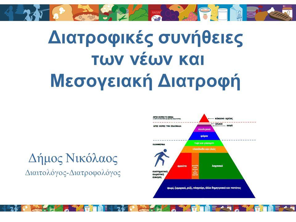 Διατροφικές συνήθειες των νέων και Μεσογειακή Διατροφή Δήμος Νικόλαος Διαιτολόγος-Διατροφολόγος