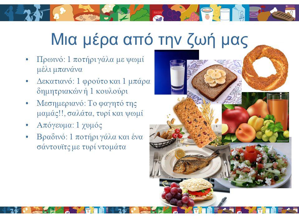 Μια μέρα από την ζωή μας Πρωινό: 1 ποτήρι γάλα με ψωμί μέλι μπανάνα Δεκατιανό: 1 φρούτο και 1 μπάρα δημητριακών ή 1 κουλούρι Μεσημεριανό: Το φαγητό τη