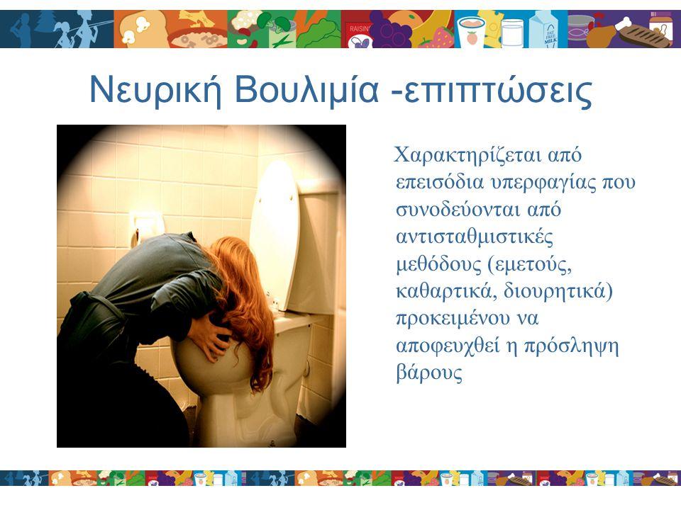 Νευρική Βουλιμία -επιπτώσεις Χαρακτηρίζεται από επεισόδια υπερφαγίας που συνοδεύονται από αντισταθμιστικές μεθόδους (εμετούς, καθαρτικά, διουρητικά) π