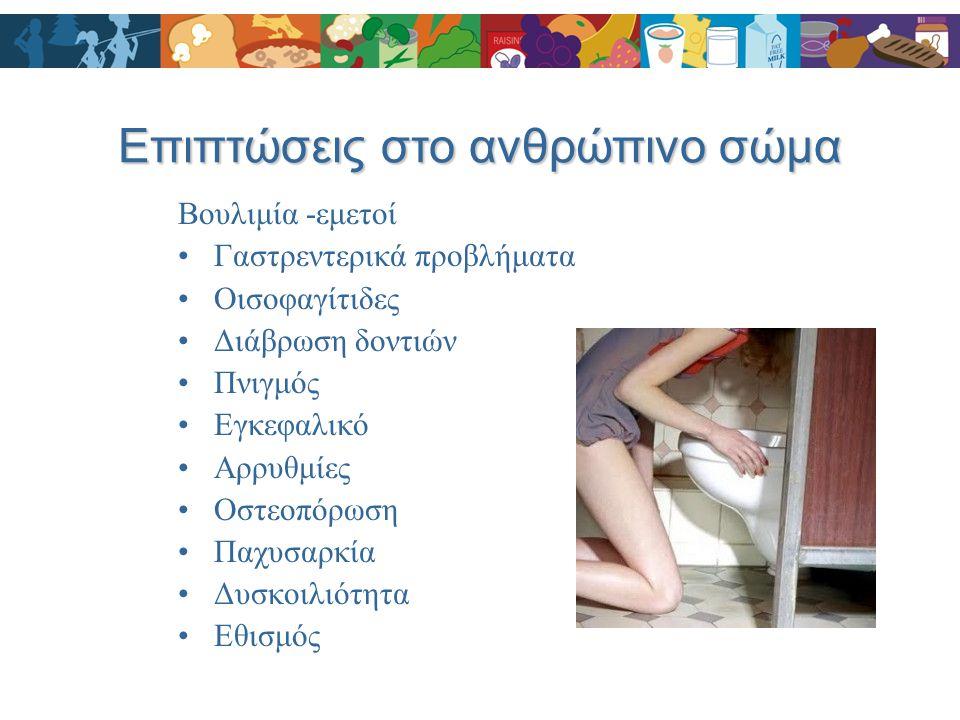 Βουλιμία -εμετοί Γαστρεντερικά προβλήματα Οισοφαγίτιδες Διάβρωση δοντιών Πνιγμός Εγκεφαλικό Αρρυθμίες Οστεοπόρωση Παχυσαρκία Δυσκοιλιότητα Εθισμός Επι