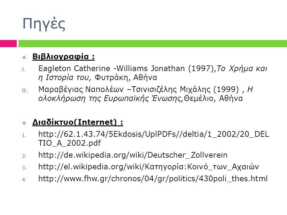 Πηγές  Βιβλιογραφία : I. Eagleton Catherine -Williams Jonathan (1997),Το Χρήμα και η Ιστορία του, Φυτράκη, Αθήνα II. Μαραβέγιας Ναπολέων –Τσινισιζέλη