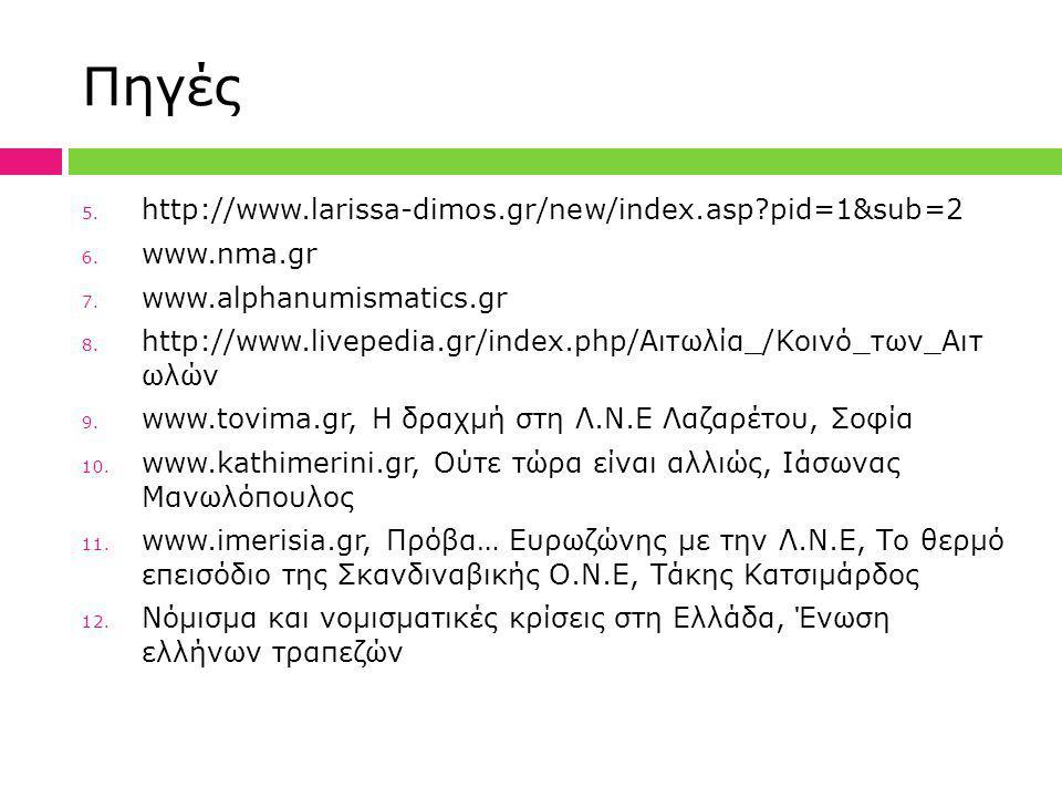 Πηγές 5. http://www.larissa-dimos.gr/new/index.asp?pid=1&sub=2 6. www.nma.gr 7. www.alphanumismatics.gr 8. http://www.livepedia.gr/index.php/Αιτωλία_/