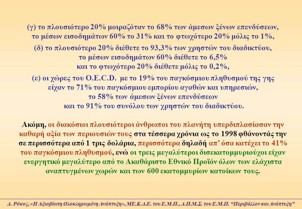 (γ) το πλουσιότερο 20% μοιραζόταν το 68% των άμεσων ξένων επενδύσεων, το μέσων εισοδημάτων 60% το 31% και το φτωχότερο 20% μόλις το 1%, (δ) το πλουσιό