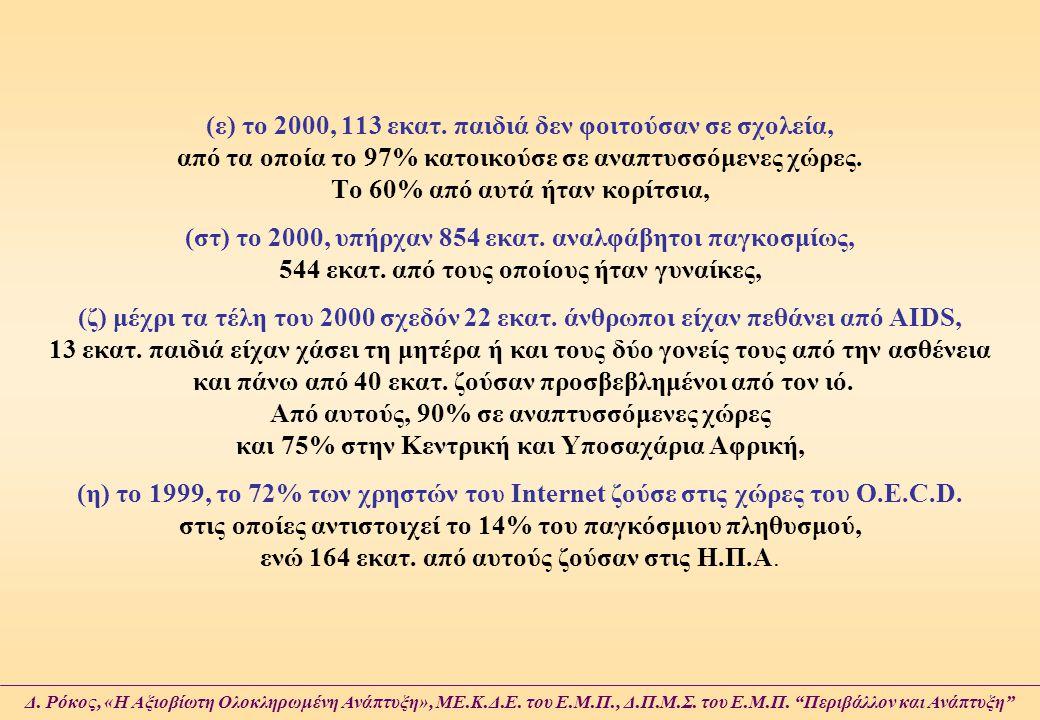 (ε) το 2000, 113 εκατ. παιδιά δεν φοιτούσαν σε σχολεία, από τα οποία το 97% κατοικούσε σε αναπτυσσόμενες χώρες. Το 60% από αυτά ήταν κορίτσια, (στ) το