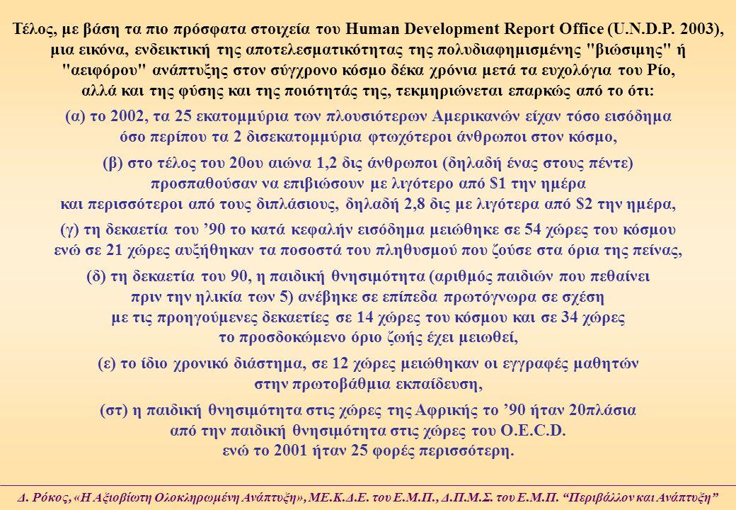 Τέλος, με βάση τα πιο πρόσφατα στοιχεία του Human Development Report Office (U.N.D.P. 2003), μια εικόνα, ενδεικτική της αποτελεσματικότητας της πολυδι