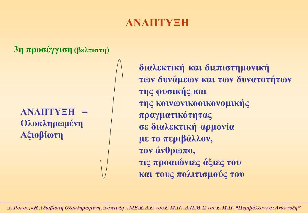 ΑΝΑΠΤΥΞΗ 3η προσέγγιση (βέλτιστη) ΑΝΑΠΤΥΞΗ = Ολοκληρωμένη Αξιοβίωτη διαλεκτική και διεπιστημονική των δυνάμεων και των δυνατοτήτων της φυσικής και της