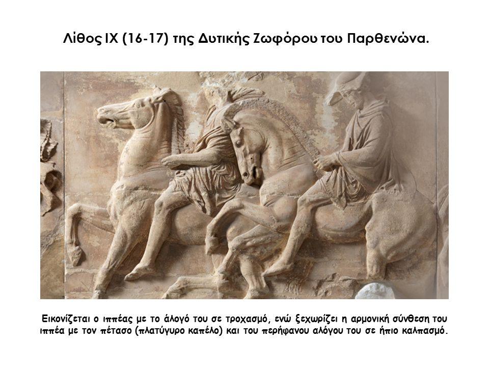 Εικονίζεται ο ιππέας με το άλογό του σε τροχασμό, ενώ ξεχωρίζει η αρμονική σύνθεση του ιππέα με τον πέτασο (πλατύγυρο καπέλο) και του περήφανου αλόγου