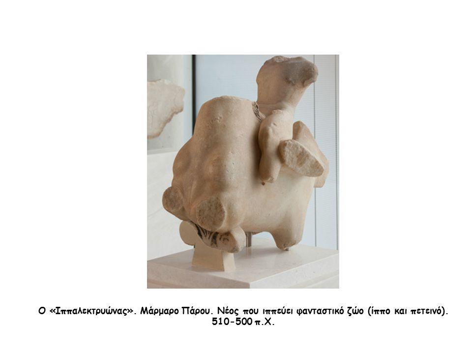 Ο «Ιππαλεκτρυώνας». Μάρμαρο Πάρου. Νέος που ιππεύει φανταστικό ζώο (ίππο και πετεινό). 510-500 π.Χ.