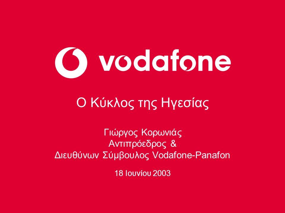 1993 – 2003 10 χρόνια Vodafone-Panafon στην Ελλάδα Πρότυπο ανάπτυξης νέας αγοράς Πρότυπο ανάπτυξης στον Ομιλο της Vodafone