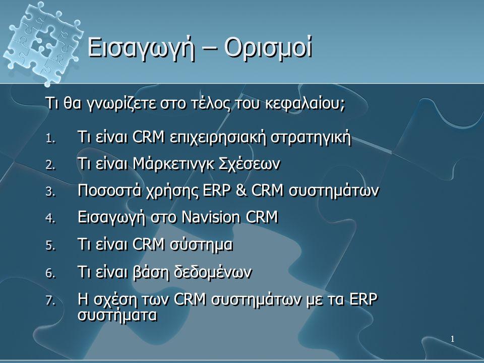 1 Τι θα γνωρίζετε στο τέλος του κεφαλαίου; 1. Τι είναι CRM επιχειρησιακή στρατηγική 2. Τι είναι Μάρκετινγκ Σχέσεων 3. Ποσοστά χρήσης ERP & CRM συστημά