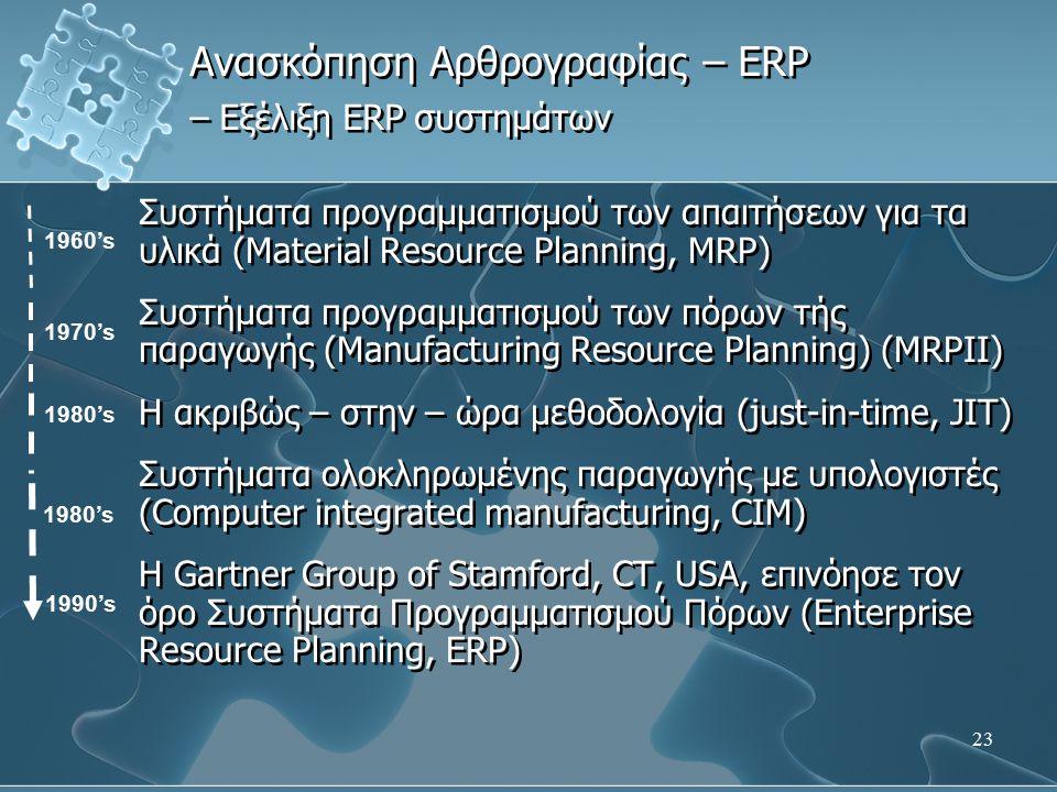 23 Ανασκόπηση Αρθρογραφίας – ERP – Εξέλιξη ERP συστημάτων Συστήματα προγραμματισμού των απαιτήσεων για τα υλικά (Material Resource Planning, MRP) Συστ
