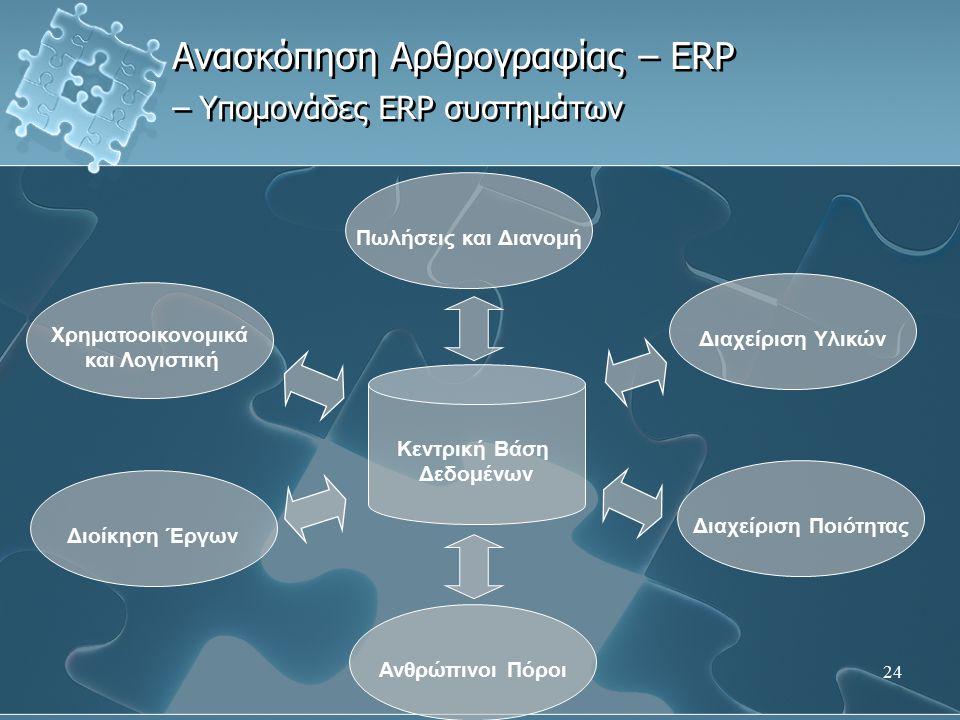 24 Ανασκόπηση Αρθρογραφίας – ERP – Υπομονάδες ERP συστημάτων Πωλήσεις και Διανομή Χρηματοοικονομικά και Λογιστική Ανθρώπινοι Πόροι Διοίκηση Έργων Διαχ