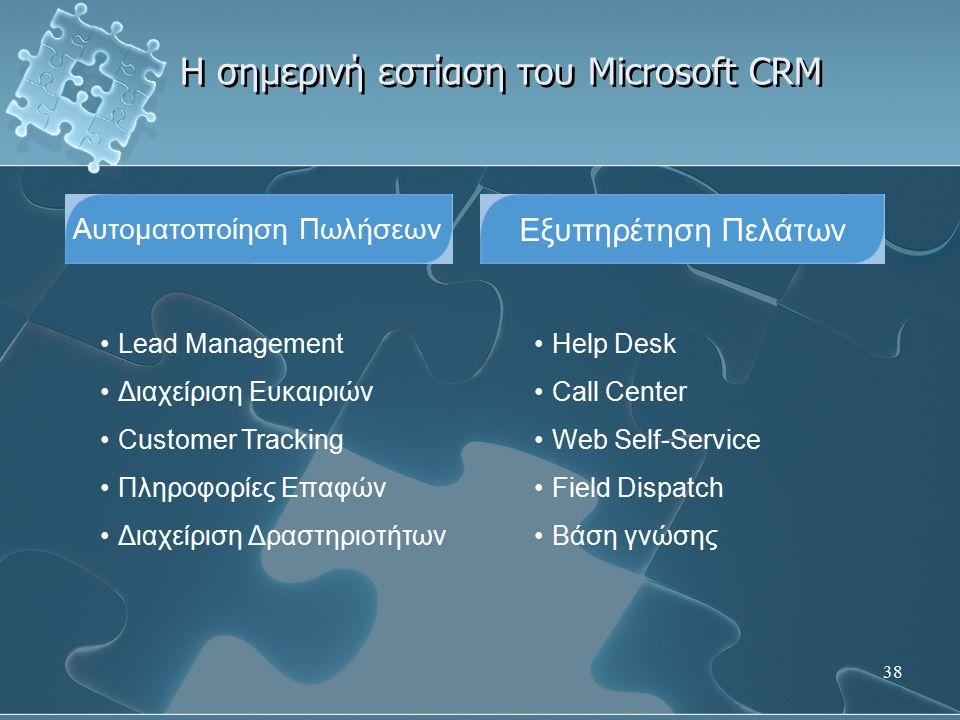 38 Η σημερινή εστίαση του Microsoft CRM Αυτοματοποίηση Πωλήσεων Lead Management Διαχείριση Ευκαιριών Customer Tracking Πληροφορίες Επαφών Διαχείριση Δ