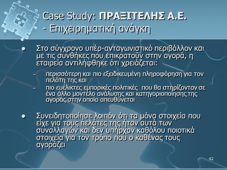 42 Case Study: ΠΡΑΞΙΤΕΛΗΣ Α.Ε. - Επιχειρηματική ανάγκη Στο σύγχρονο υπέρ-ανταγωνιστικό περιβάλλον και µε τις συνθήκες που επικρατούν στην αγορά, η ετα
