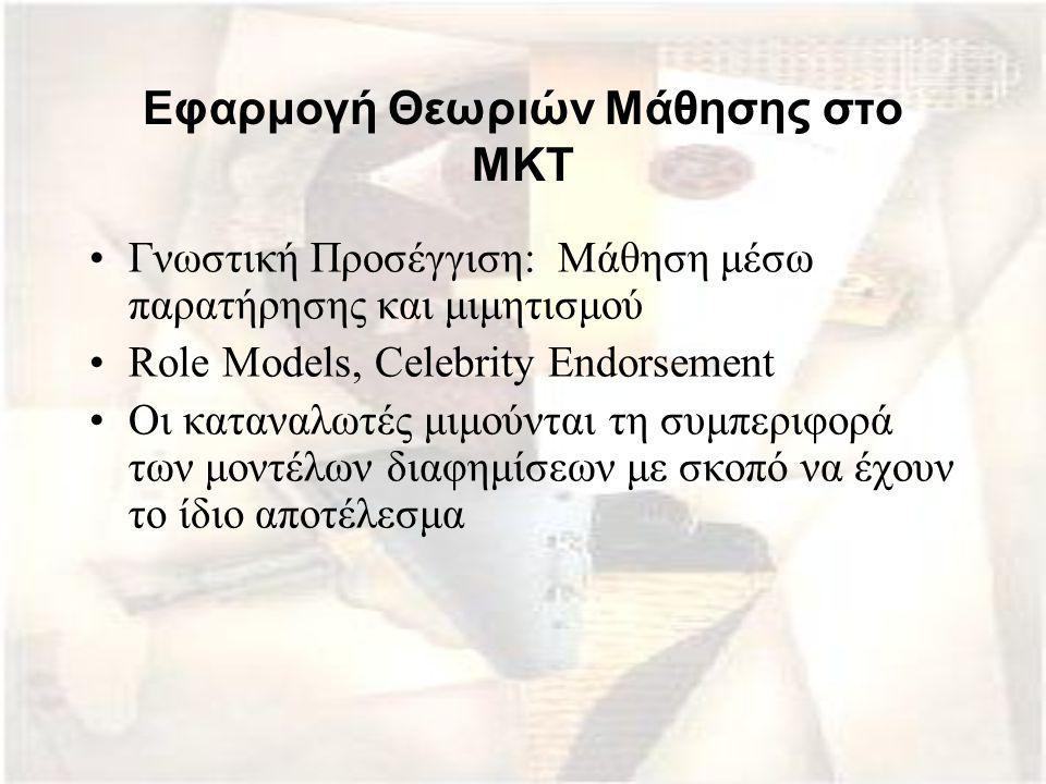 Εφαρμογή Θεωριών Μάθησης στο ΜΚΤ Γνωστική Προσέγγιση: Mάθηση μέσω παρατήρησης και μιμητισμού Role Models, Celebrity Endorsement Οι καταναλωτές μιμούντ