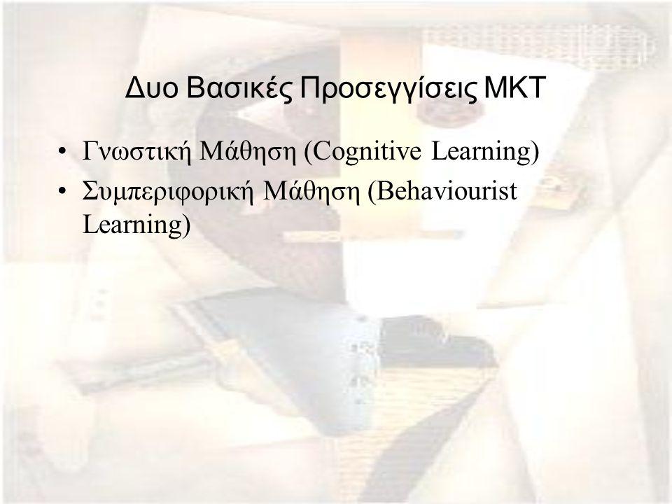 Δυο Βασικές Προσεγγίσεις ΜΚΤ Γνωστική Μάθηση (Cognitive Learning) Συμπεριφορική Μάθηση (Behaviourist Learning)