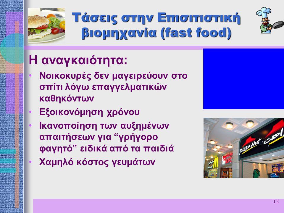 12 Τάσεις στην Επισιτιστική βιομηχανία (fast food) Η αναγκαιότητα: Νοικοκυρές δεν μαγειρεύουν στο σπίτι λόγω επαγγελματικών καθηκόντων Εξοικονόμηση χρ