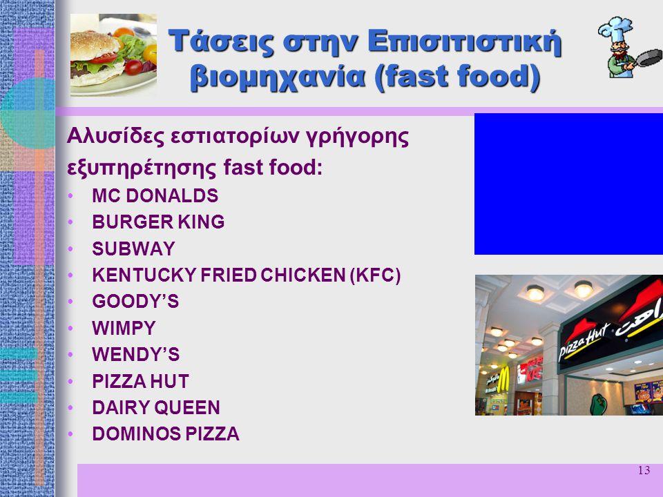 13 Τάσεις στην Επισιτιστική βιομηχανία (fast food) Αλυσίδες εστιατορίων γρήγορης εξυπηρέτησης fast food: MC DONALDS BURGER KING SUBWAY KENTUCKY FRIED