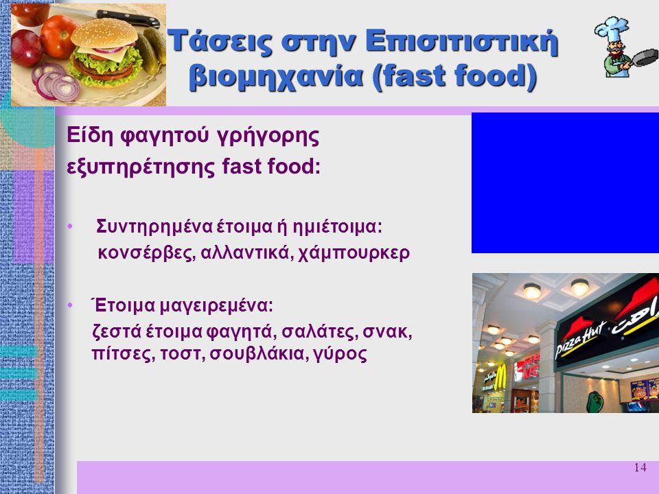 14 Τάσεις στην Επισιτιστική βιομηχανία (fast food) Είδη φαγητού γρήγορης εξυπηρέτησης fast food: Συντηρημένα έτοιμα ή ημιέτοιμα: κονσέρβες, αλλαντικά,