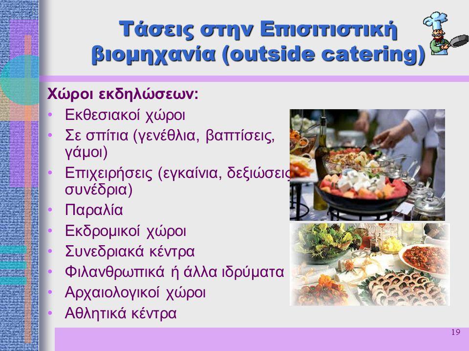 19 Τάσεις στην Επισιτιστική βιομηχανία (outside catering) Χώροι εκδηλώσεων: Εκθεσιακοί χώροι Σε σπίτια (γενέθλια, βαπτίσεις, γάμοι) Επιχειρήσεις (εγκα