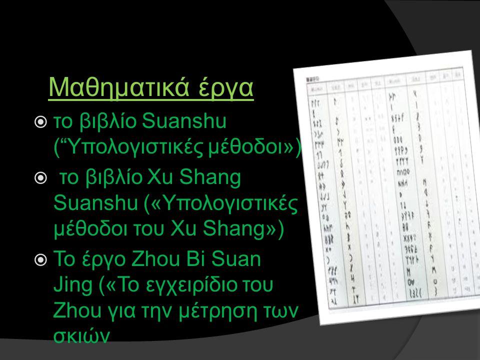 """Μαθηματικά έργα  το βιβλίο Suanshu (""""Υπολογιστικές μέθοδοι»)  το βιβλίο Xu Shang Suanshu («Υπολογιστικές μέθοδοι του Xu Shang»)  Το έργο Zhou Βi Su"""