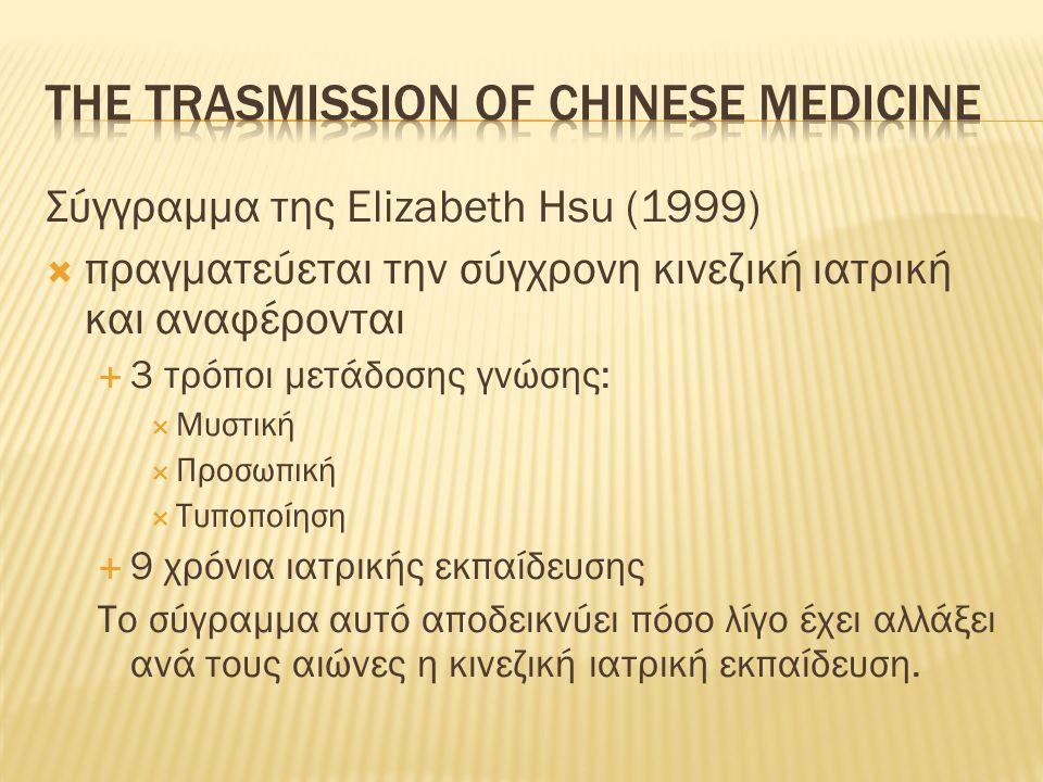 Σύγγραμμα της Elizabeth Hsu (1999)  πραγματεύεται την σύγχρονη κινεζική ιατρική και αναφέρονται  3 τρόποι μετάδοσης γνώσης:  Μυστική  Προσωπική 