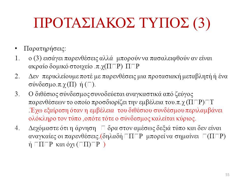 ΠΡΟΤΑΣΙΑΚΟΣ ΤΥΠΟΣ (3) Παρατηρήσεις: 1.ο (3) εισάγει παρενθέσεις αλλά μπορούν να πασαλειφθούν αν είναι ακραίο δομικό στοιχείο.π.χ(Π  Ρ) Π  Ρ 2.Δεν πε