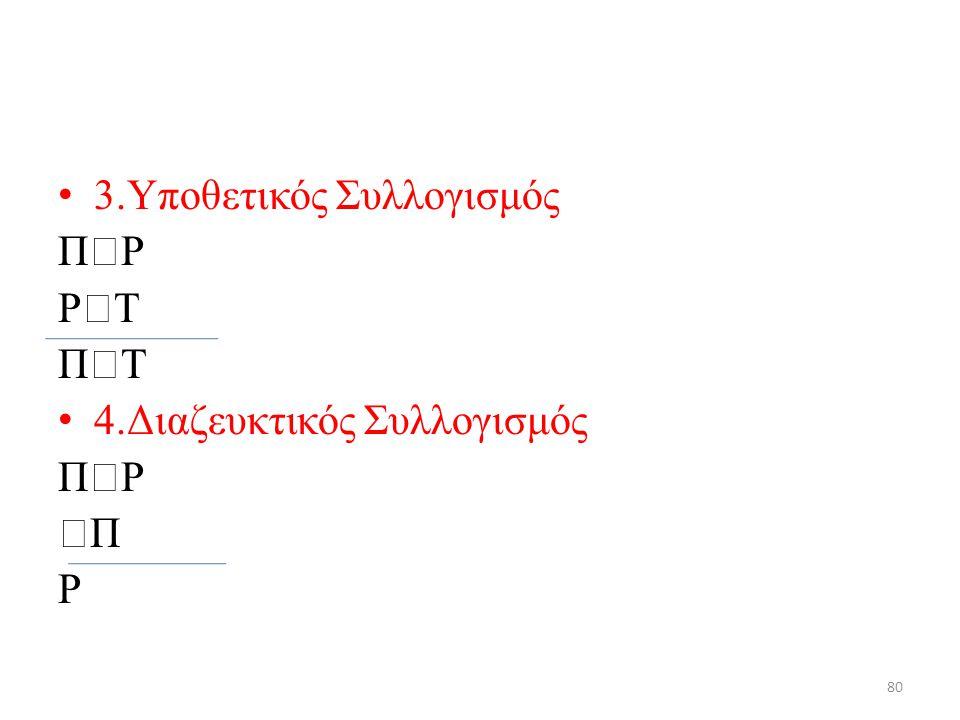 3.Υποθετικός Συλλογισμός Π  Ρ Ρ  Τ Π  Τ 4.Διαζευκτικός Συλλογισμός Π  Ρ  Π Ρ 80