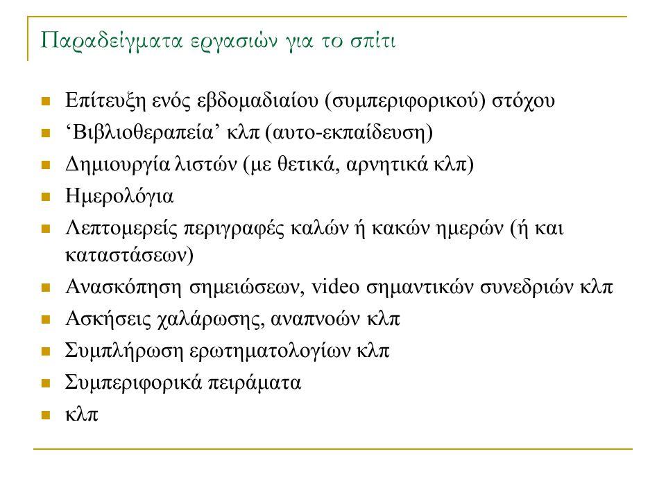 Παραδείγματα εργασιών για το σπίτι Επίτευξη ενός εβδομαδιαίου (συμπεριφορικού) στόχου 'Βιβλιοθεραπεία' κλπ (αυτο-εκπαίδευση) Δημιουργία λιστών (με θετ