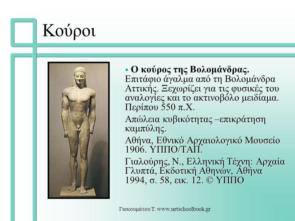Γιακουμάτου Τ. www.netschoolbook.gr Κούροι  Ο κούρος της Βολομάνδρας. Επιτάφιο άγαλμα από τη Βολομάνδρα Αττικής. Ξεχωρίζει για τις φυσικές του αναλογ