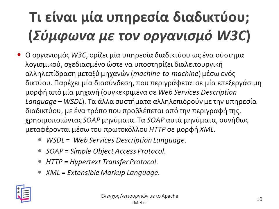 Τι είναι μία υπηρεσία διαδικτύου; (Σύμφωνα με τον οργανισμό W3C) Ο οργανισμός W3C, ορίζει μία υπηρεσία διαδικτύου ως ένα σύστημα λογισμικού, σχεδιασμέ