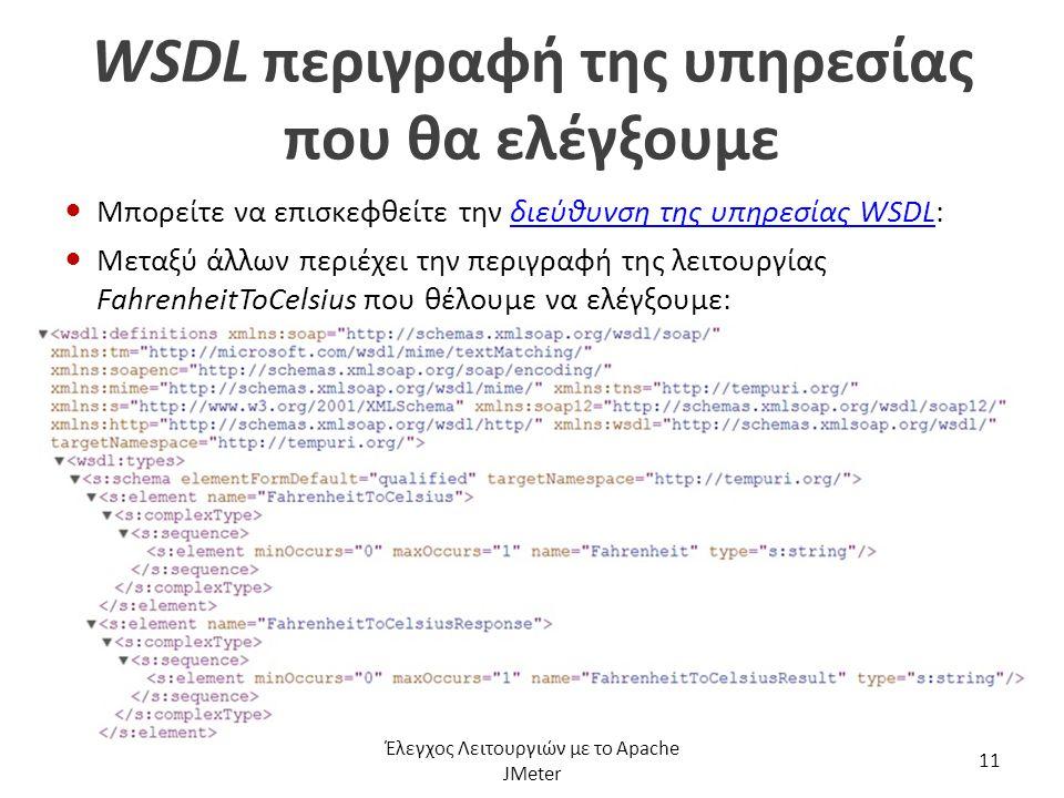 WSDL περιγραφή της υπηρεσίας που θα ελέγξουμε Μπορείτε να επισκεφθείτε την διεύθυνση της υπηρεσίας WSDL:διεύθυνση της υπηρεσίας WSDL Μεταξύ άλλων περι