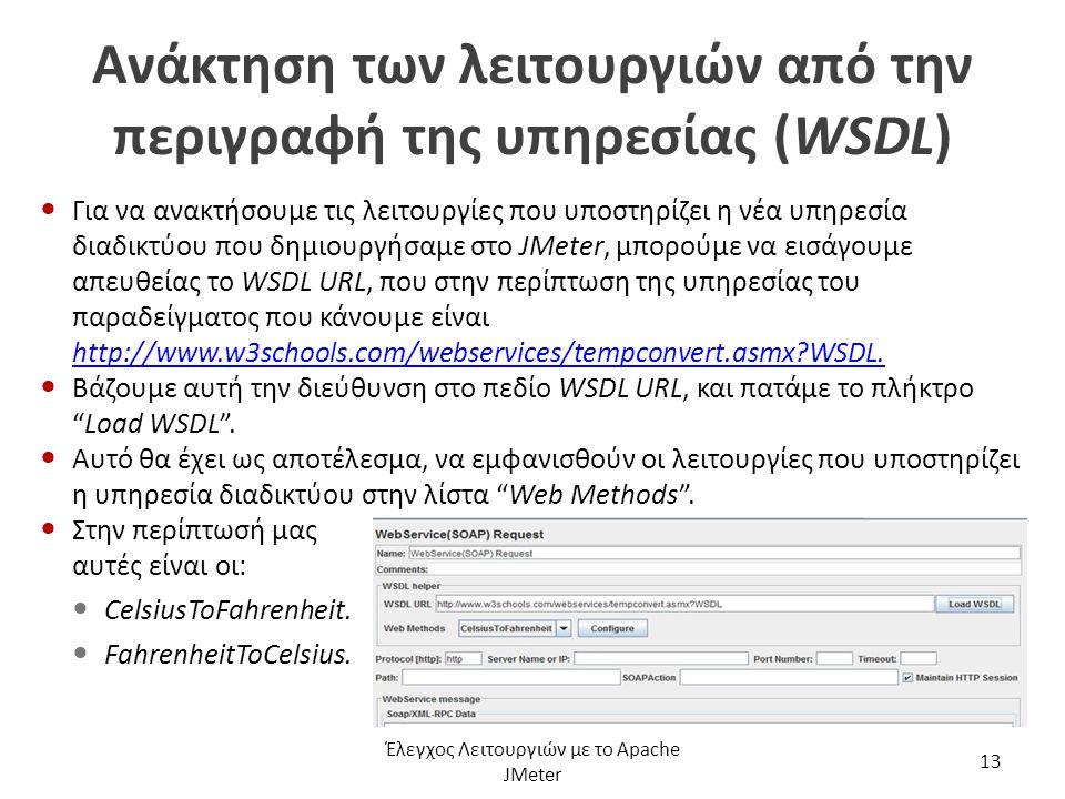 Ανάκτηση των λειτουργιών από την περιγραφή της υπηρεσίας (WSDL) Για να ανακτήσουμε τις λειτουργίες που υποστηρίζει η νέα υπηρεσία διαδικτύου που δημιο