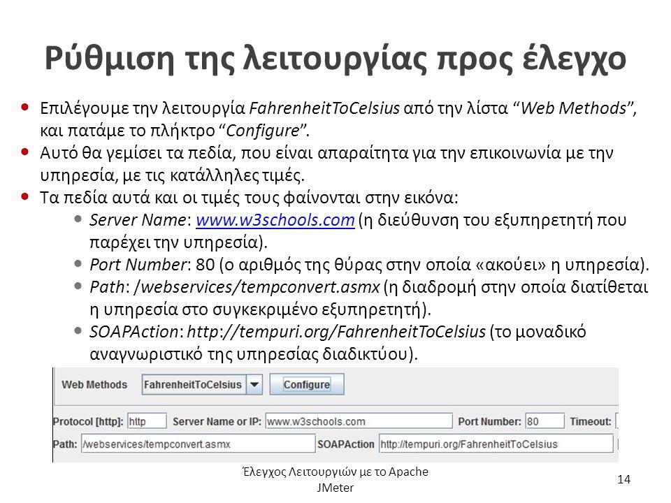 """Ρύθμιση της λειτουργίας προς έλεγχο Επιλέγουμε την λειτουργία FahrenheitToCelsius από την λίστα """"Web Methods"""", και πατάμε το πλήκτρο """"Configure"""". Αυτό"""