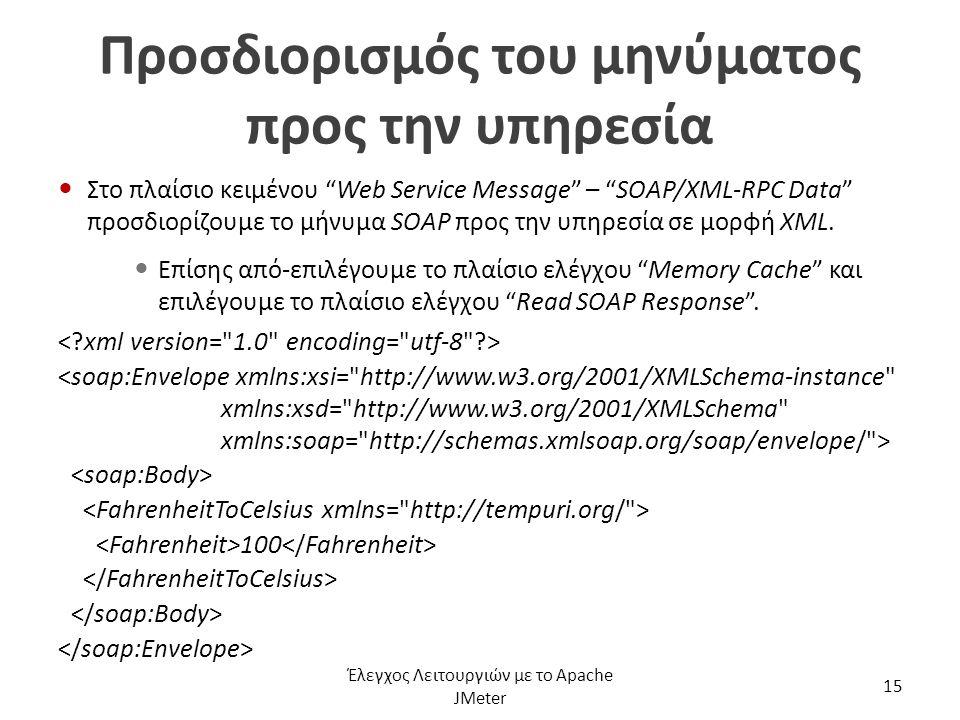 """Προσδιορισμός του μηνύματος προς την υπηρεσία Στο πλαίσιο κειμένου """"Web Service Message"""" – """"SOAP/XML-RPC Data"""" προσδιορίζουμε το μήνυμα SOAP προς την"""
