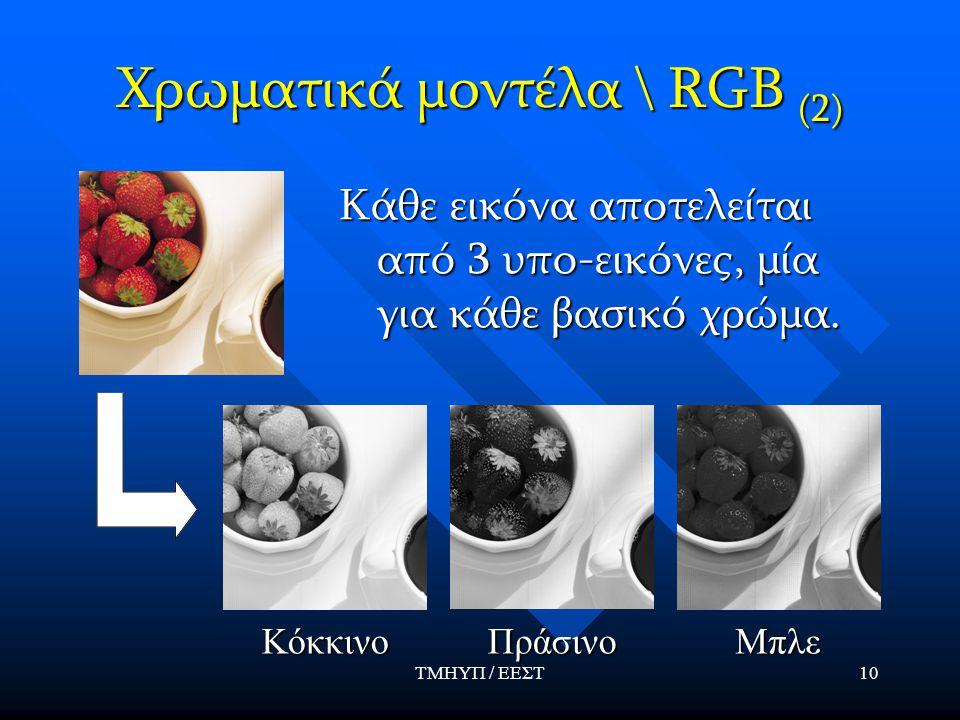 ΤΜΗΥΠ / ΕΕΣΤ10 Χρωματικά μοντέλα \ RGB (2) Κάθε εικόνα αποτελείται από 3 υπο-εικόνες, μία για κάθε βασικό χρώμα. ΚόκκινοΠράσινοΜπλε