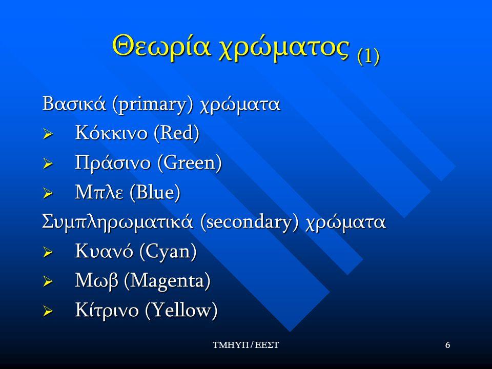 ΤΜΗΥΠ / ΕΕΣΤ6 Θεωρία χρώματος (1) Βασικά (primary) χρώματα  Κόκκινο (Red)  Πράσινο (Green)  Μπλε (Blue) Συμπληρωματικά (secondary) χρώματα  Κυανό