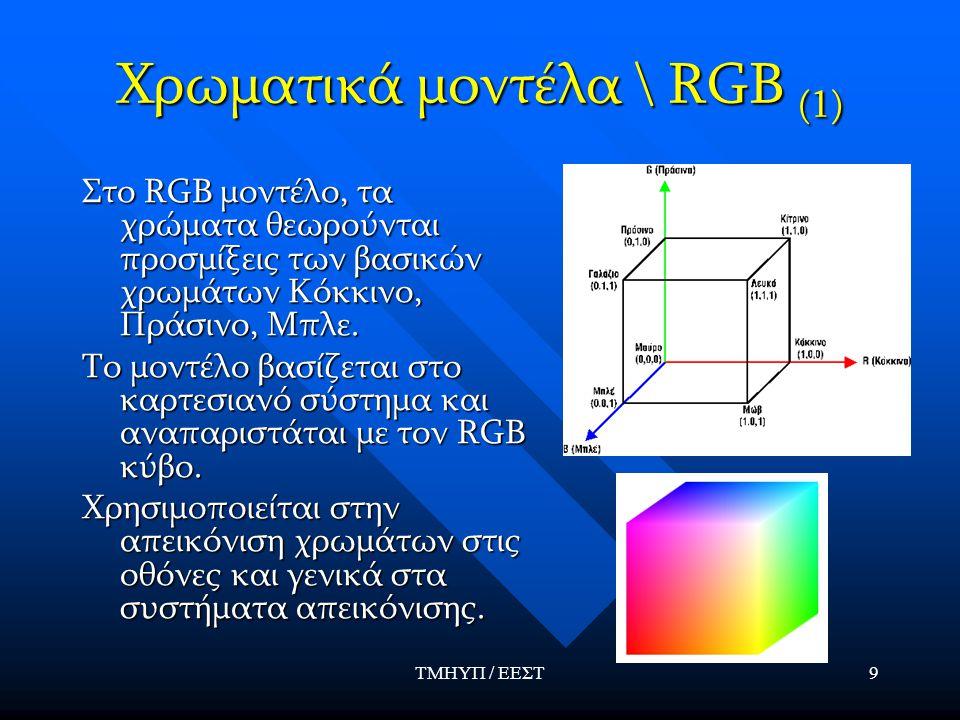 ΤΜΗΥΠ / ΕΕΣΤ20 Αναπαραγωγή χρώματος (2)  Η απόκριση του i-οστου είδους κωνίου στην φωτεινή πηγή τύπου k είναι:  Οπότε προκύπτουν οι γνωστές ως color matching equations :  Για δεδομένα C(λ), P k (λ) και S i (λ), οι ζητούμενες αναλογίες ανάμιξης β k (τριχρωματικοί συντελεστές) βρίσκονται με λύση συστήματος  Για να υπάρχει λύση και να είναι αποδεκτή πρέπει ο πίνακας να είναι αντιστρέψιμος και τα β k να είναι μη αρνητικά