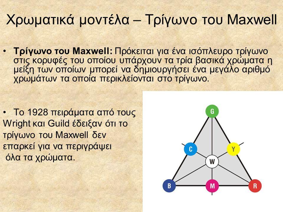 Χρωματικά μοντέλα – Το διάγραμμα CIE Δημιουργήθηκε από την CIE (Commission Internationale de l Eclairage) το 1931 σαν μια παραλλαγή του τριγώνου του Maxwell.