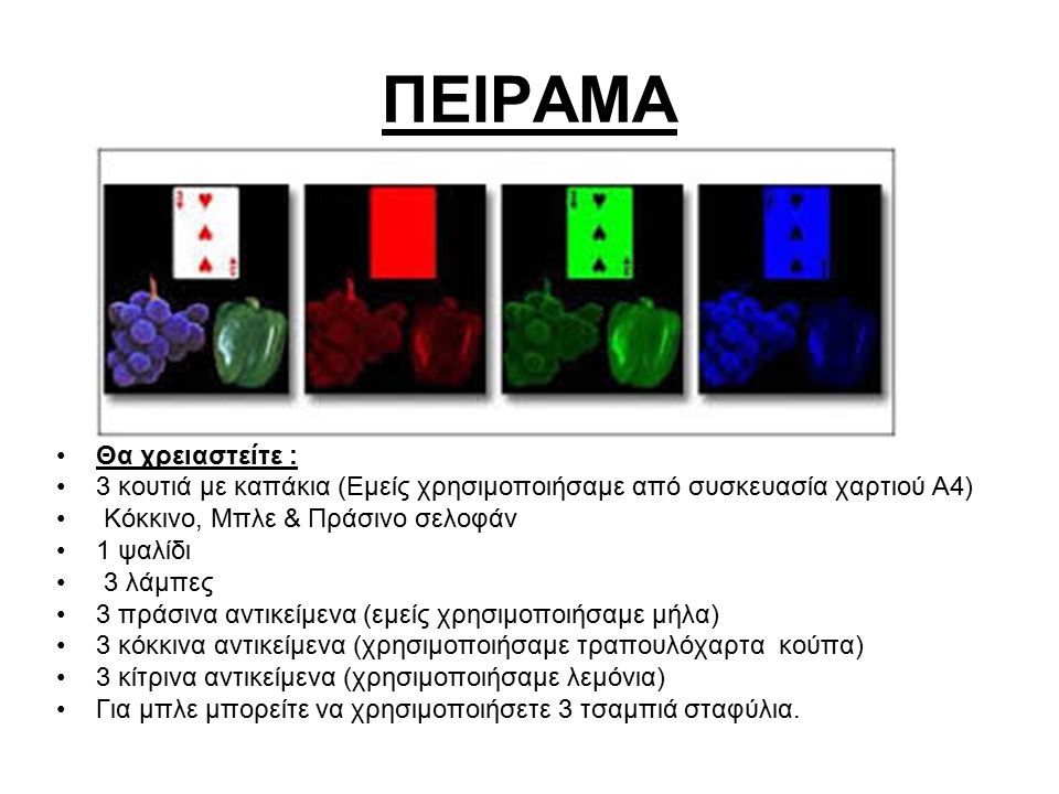 ΠΕΙΡΑΜΑ Θα χρειαστείτε : 3 κουτιά με καπάκια (Εμείς χρησιμοποιήσαμε από συσκευασία χαρτιού Α4) Κόκκινο, Μπλε & Πράσινο σελοφάν 1 ψαλίδι 3 λάμπες 3 πρά