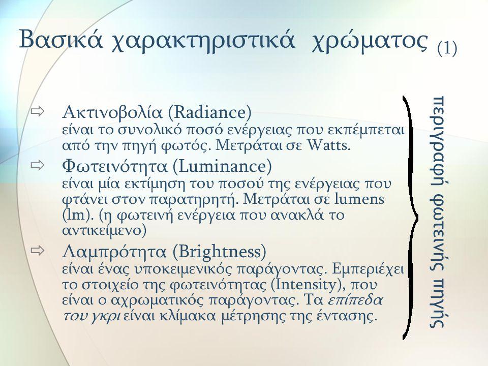 Βασικά χαρακτηριστικά χρώματος (1)  Ακτινοβολία (Radiance) είναι το συνολικό ποσό ενέργειας που εκπέμπεται από την πηγή φωτός. Μετράται σε Watts.  Φ